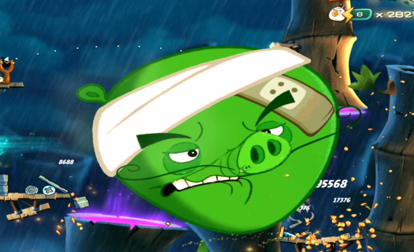 《愤怒的小鸟2》20利用神奇的竹子打败猪大厨