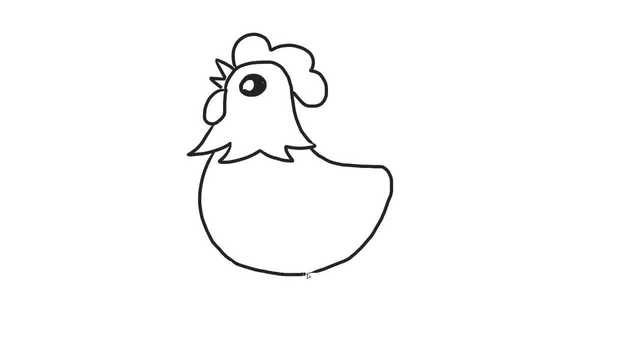 卡通大公鸡儿童亲子简笔画