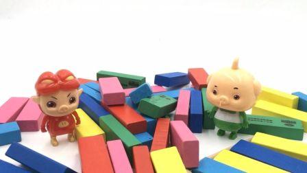 猪猪侠和小呆呆搭积木建房子过家家 44