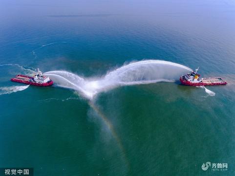 勝利油田為保安全生產 5艘大馬力船上演應急演練