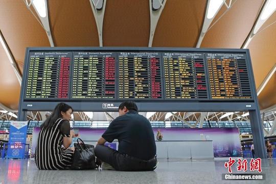 """受台风""""温比亚""""影响 上海两大机场多趟航班取消"""