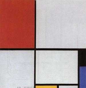蒙德里安-Compositie met rood, geel en blauw