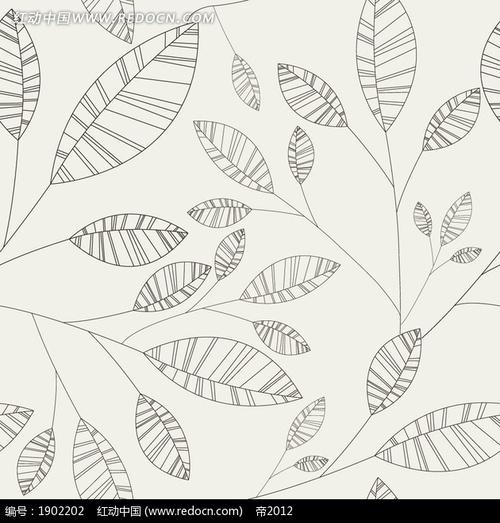 线描叶子底纹背景设计 底纹背景矢量图下载 编号 1902202